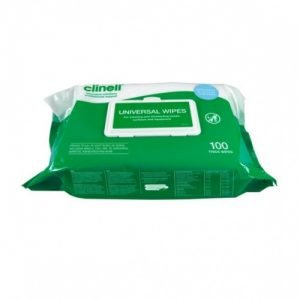 Clinell Universal Hand and Surface Wipes pack of 100 wipes